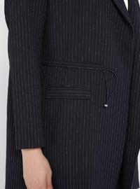 White - Navy Blue - Stripe - Shawl Collar - Unlined - Plus Size Jacket