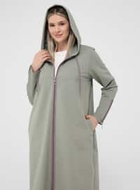 Lilac - Olive Green - Unlined - Plus Size Coat