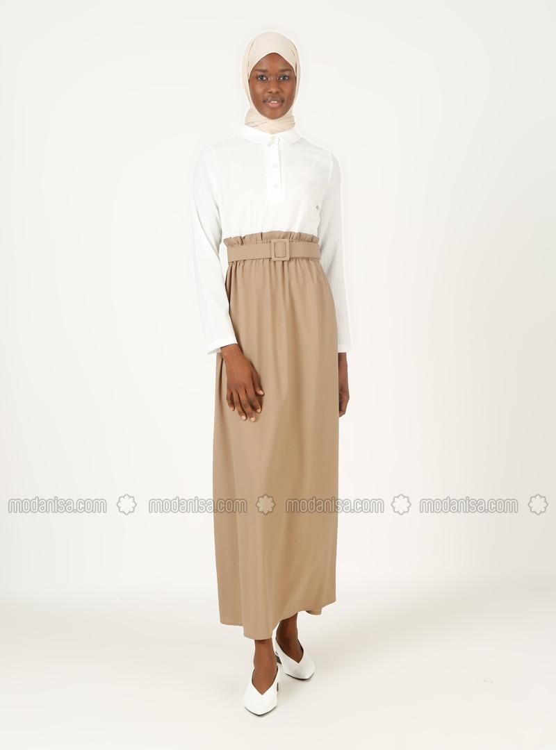 Mink - Point Collar - Modest Dress