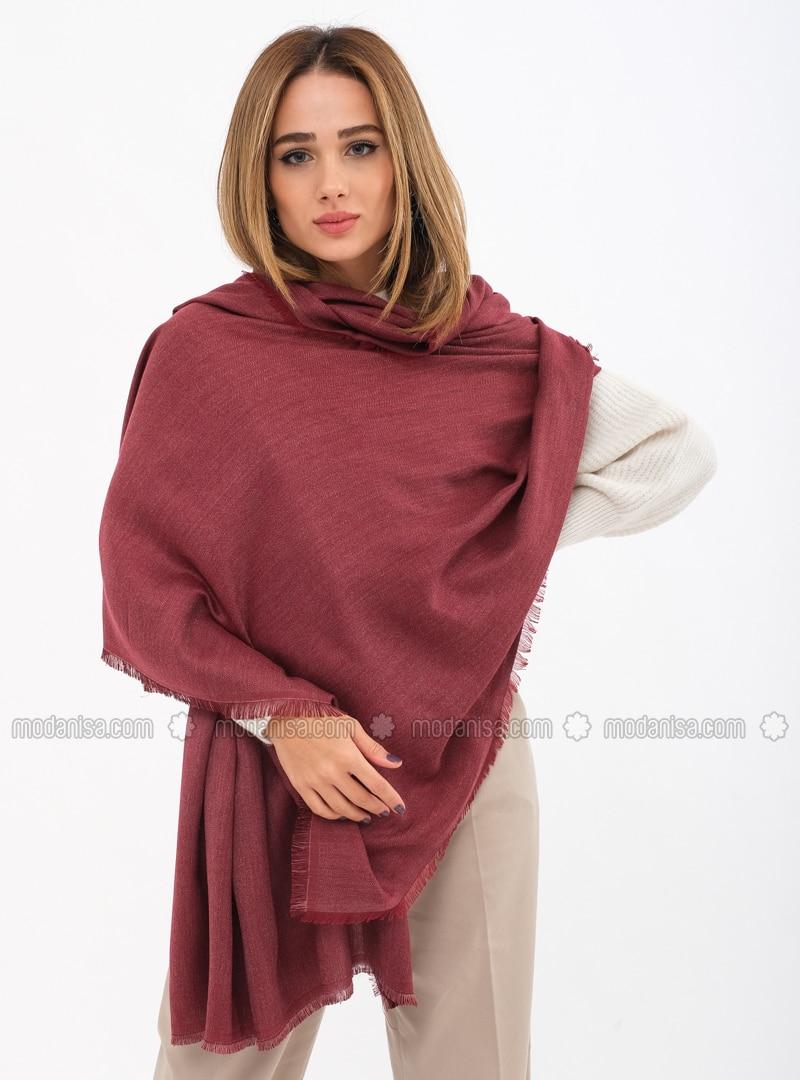 Maroon - Printed - Shawl Wrap