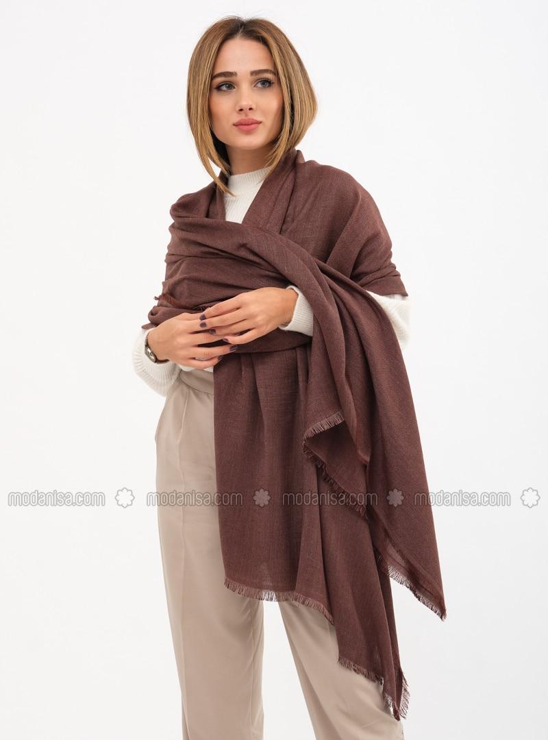 Brown - Printed - Shawl Wrap