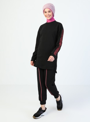 Fuchsia - Black - Crew neck - Tracksuit Set