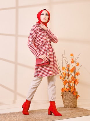 Red - Houndstooth - Unlined - Shawl Collar - Topcoat