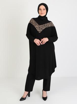 Black - Leopard - Crew neck - Plus Size Tunic - Ferace