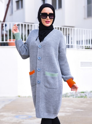 Gray - Unlined - Knit Cardigans - Por La Cara