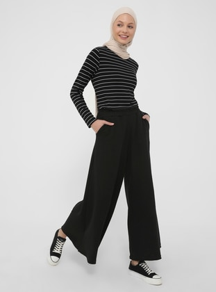 Soft Touchings Oxford Leg Trousers Skirt - Black