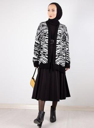 Black - Zebra - Unlined - Knit Cardigans