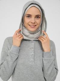 Snap Fastener Detailed Hooded Track Suit Set - Gray Melange - Basic