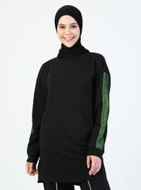Black - Green - Crew neck - Tracksuit Set