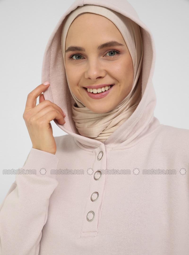 Snap Fastener Detailed Hooded Track Suit Set - Soft Pink - Basic