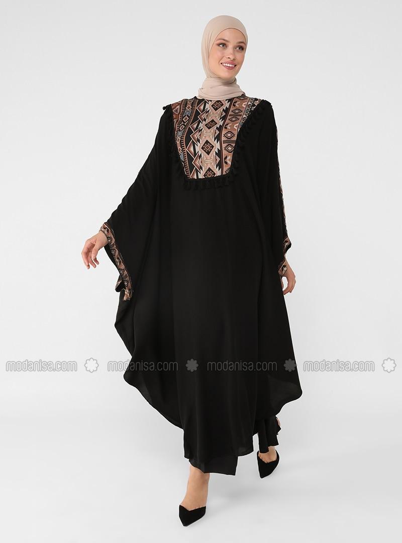 Black - Ethnic - Unlined - Crew neck - Abaya