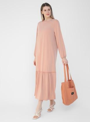 Salmon - Unlined - Crew neck - Plus Size Dress