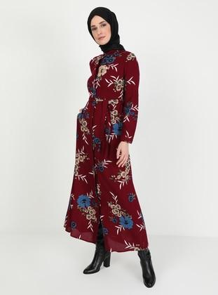 Maroon - Indigo - Floral - Point Collar - Unlined - Dress