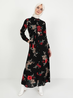 Coral - Black - Floral - Point Collar - Unlined - Dress