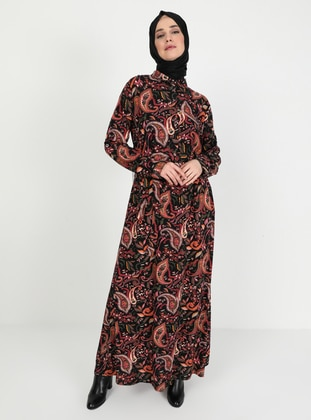 Black - Green - Floral - Unlined - Point Collar - Plus Size Dress