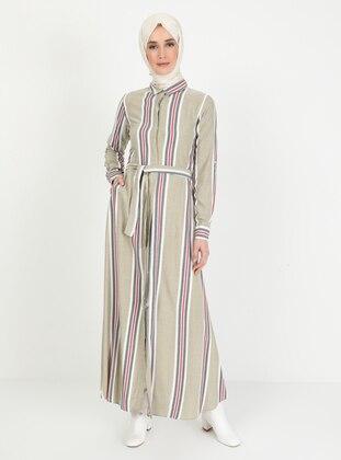 Green - Stripe - Point Collar - Unlined - Dress