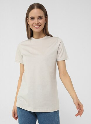 Short Sleeve Basic Tshirt- Light Gray- Basic
