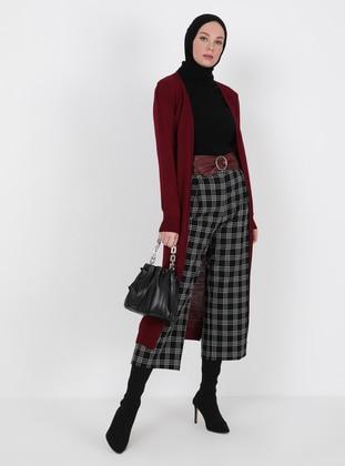 Maroon - Unlined - Knit Cardigans