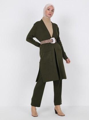 Khaki - Unlined - Knit Cardigans