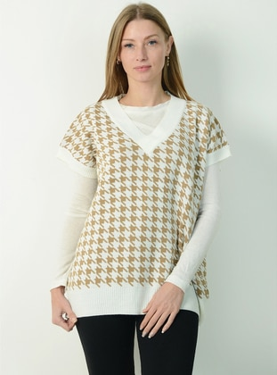 Beige - Unlined - V neck Collar - Knit Sweaters