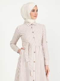 Mink - Stripe - Point Collar - Unlined - Dress