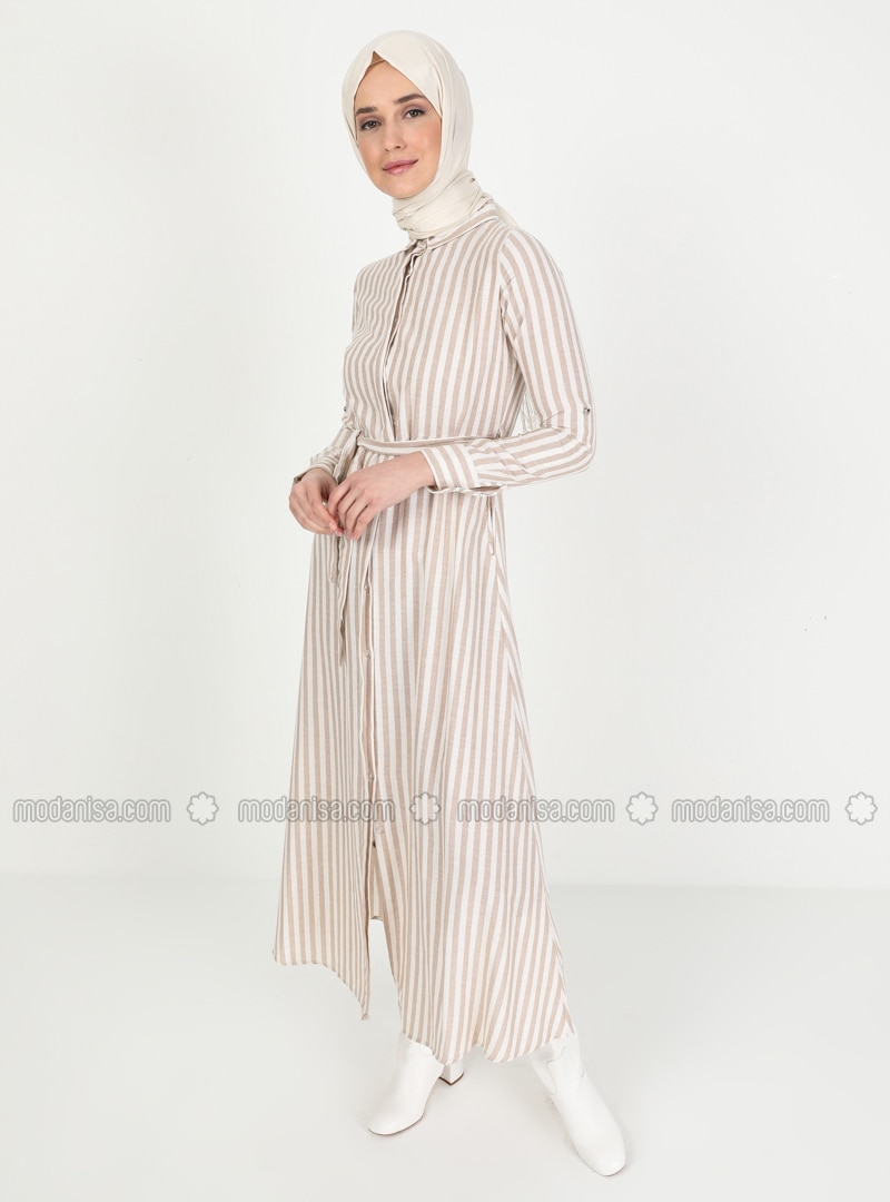 Mink - Stripe - Point Collar - Unlined - Dress