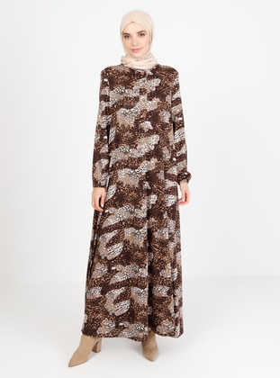 Brown - Multi - Crew neck - Unlined - Modest Dress