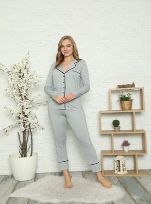 Gray - Shawl Collar - V neck Collar - Pyjama Set