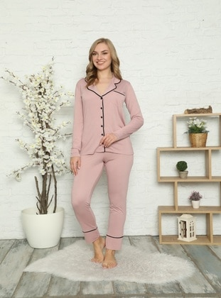 Shawl Collar - V neck Collar - Pyjama Set