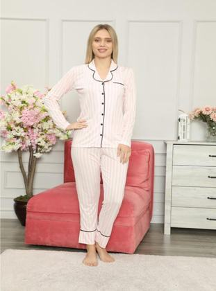 Pink - Shawl Collar - V neck Collar - Pyjama Set
