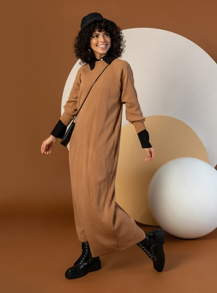 Camel - Unlined - Point Collar - Knit Dresses - Nare