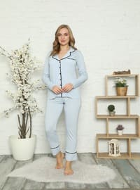 Blue - V neck Collar - Pyjama Set