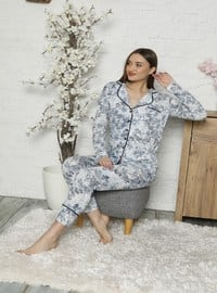 Blue - V neck Collar - Pyjama Set