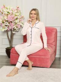 Pink - Shawl Collar - V neck Collar - Pyjama Set