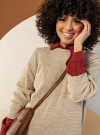 Stone - Unlined - Point Collar - Knit Dresses
