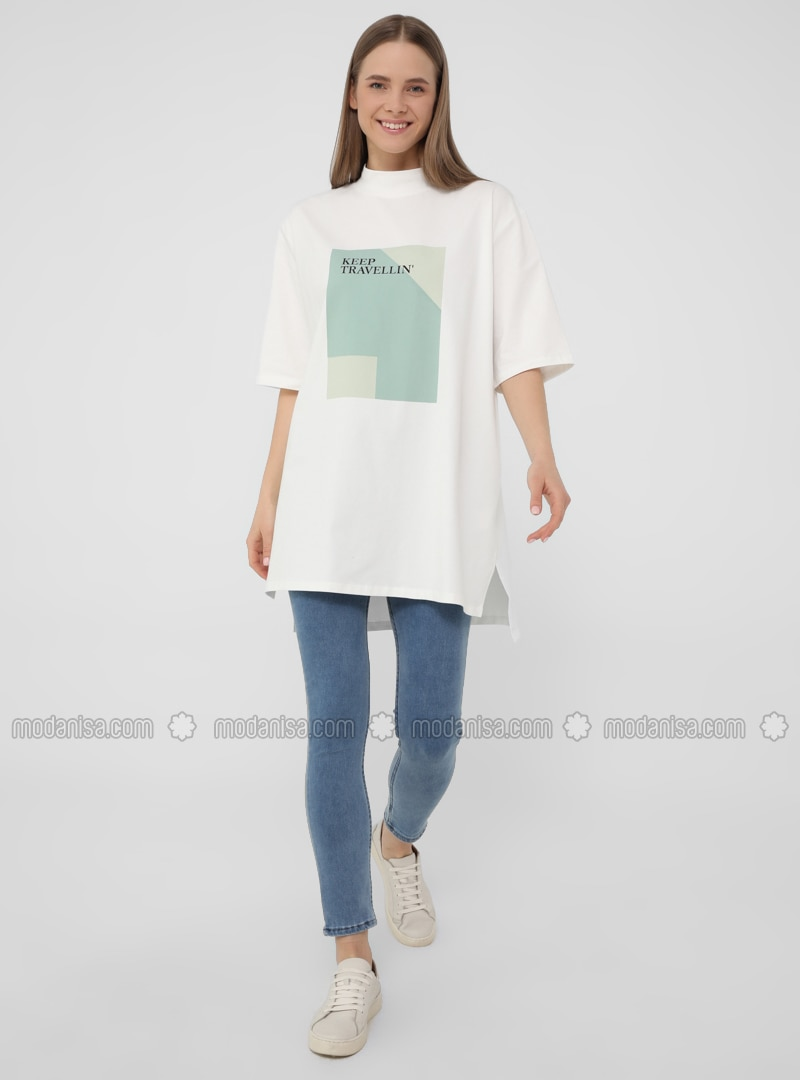 Printed - White - T-Shirt
