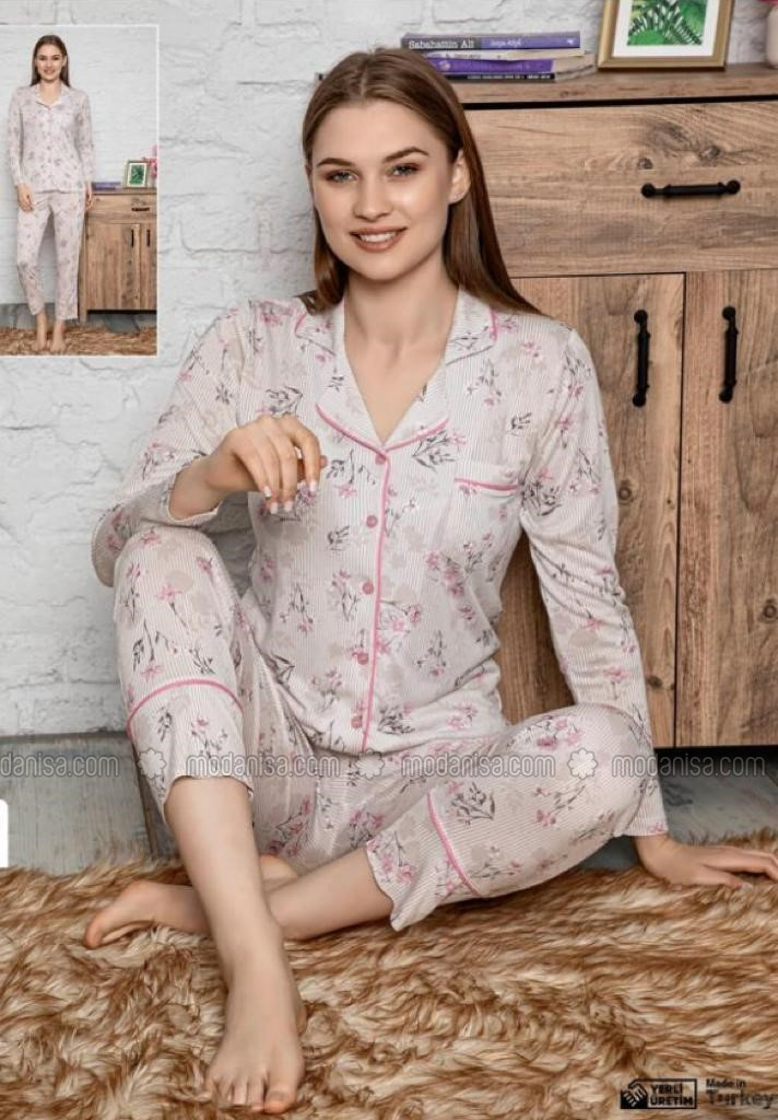 Pink - Shawl Collar - V neck Collar - Multi - Pyjama Set