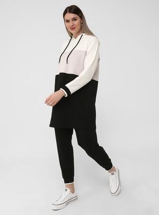 Ecru - Powder - Black - Plus Size Tracksuit Sets - Alia