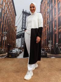 Ecru - Black - Unlined - Plus Size Coat