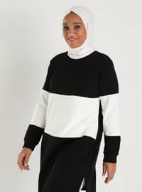 Ecru - Black - Crew neck - Plus Size Tunic