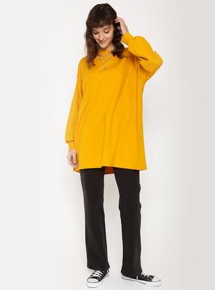 Crew neck - Mustard - Sweat-shirt