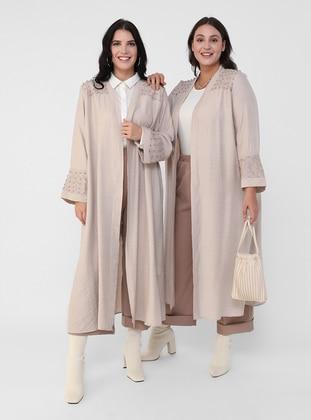 Beige - Unlined - Plus Size Coat