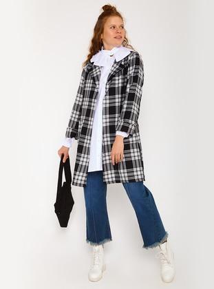 Black - Plaid - Unlined - Shawl Collar - Jacket