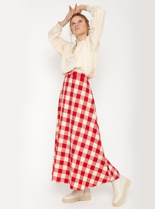 Red - Cream - Checkered - Unlined - Skirt