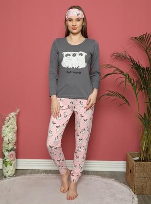 Smoke - V neck Collar - Multi - Pyjama Set