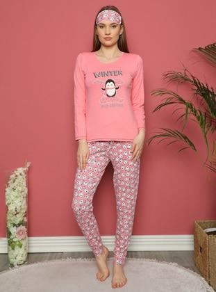 Coral - Crew neck - Multi - Pyjama Set