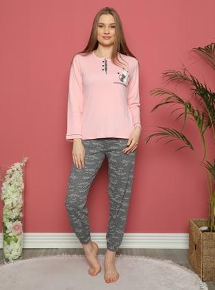 Pink - Crew neck - Multi - Pyjama Set - Fawn