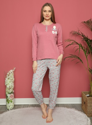 Rose - Crew neck - Multi - Pyjama Set - Fawn
