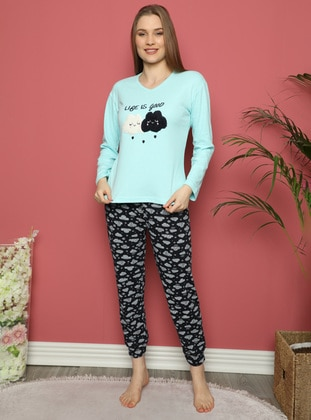 Green - V neck Collar - Multi - Pyjama Set