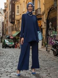 Aerobın Basic Tunic & Trousers Set - Navy Blue - Woman